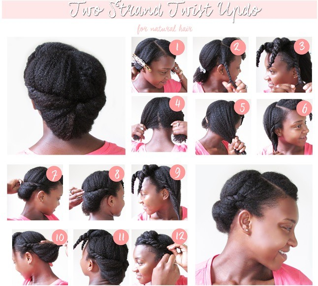 twostrandstwistedupdo - TOP 6 Quick & Easy Natural Hair Updos