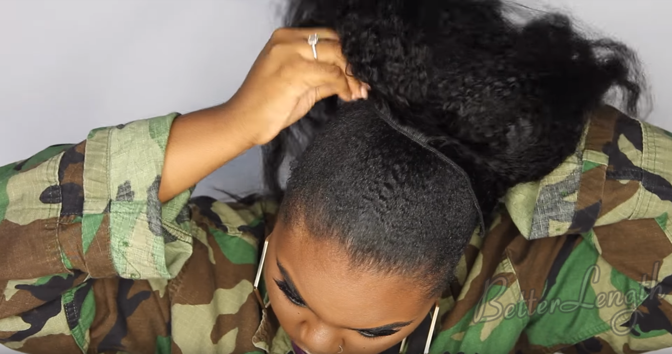 How to Do A Rihanna Inspired Loose High Ponytail on Short 4C Natural Hair with Clip-ins_10