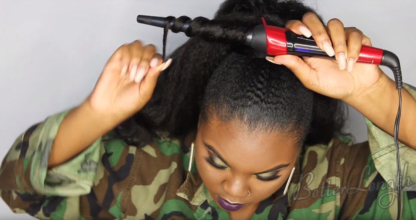 How to Do A Rihanna Inspired Loose High Ponytail on Short 4C Natural Hair with Clip-ins_12