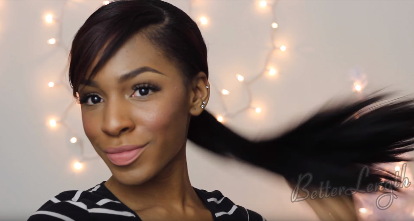 How to Do A Rihanna Inspired Swoop Ponytail for Short Hair with Clip-Ins_12