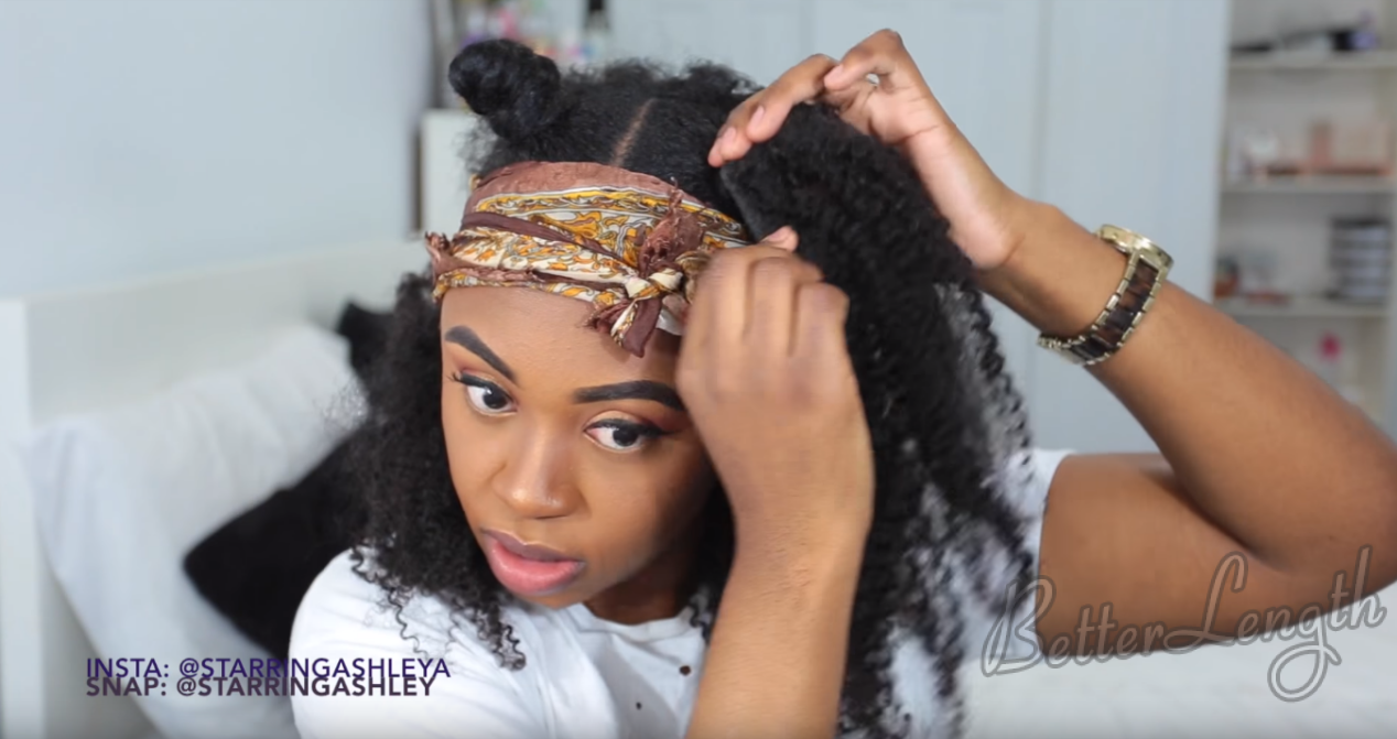 How to Do A Half up Space Buns on Natural Hair with Clip-ins_13