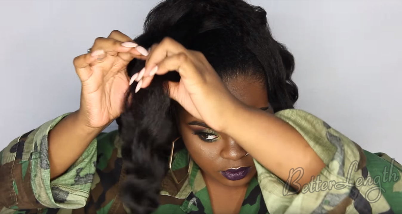 How to Do A Rihanna Inspired Loose High Ponytail on Short 4C Natural Hair with Clip-ins_14