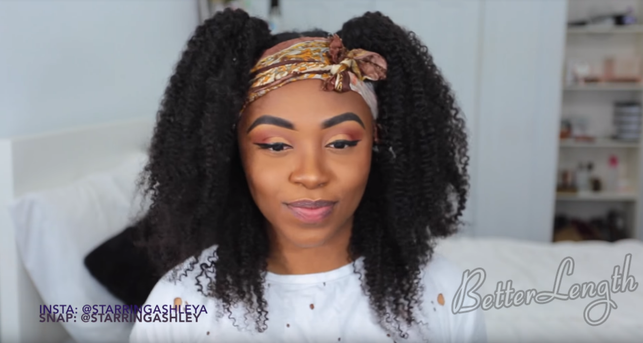 How to Do A Half up Space Buns on Natural Hair with Clip-ins_15