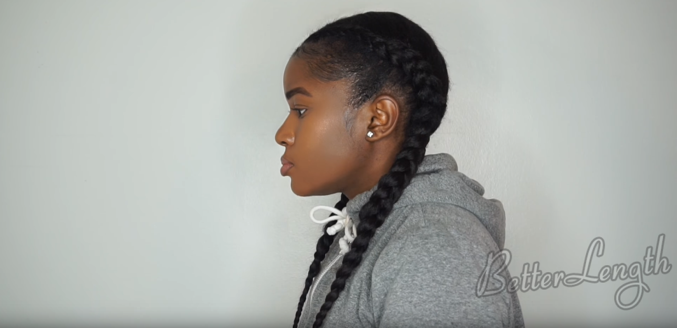 How to Do Feed In Braids Without Using Braiding Hair On Short 4c Natural Hair_23