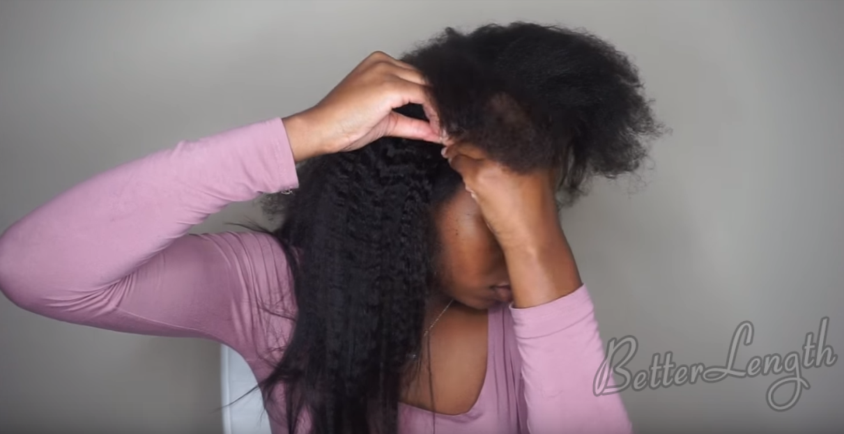 4 13 - How to Do A Ponytail with Kinky Straight Clip-ins