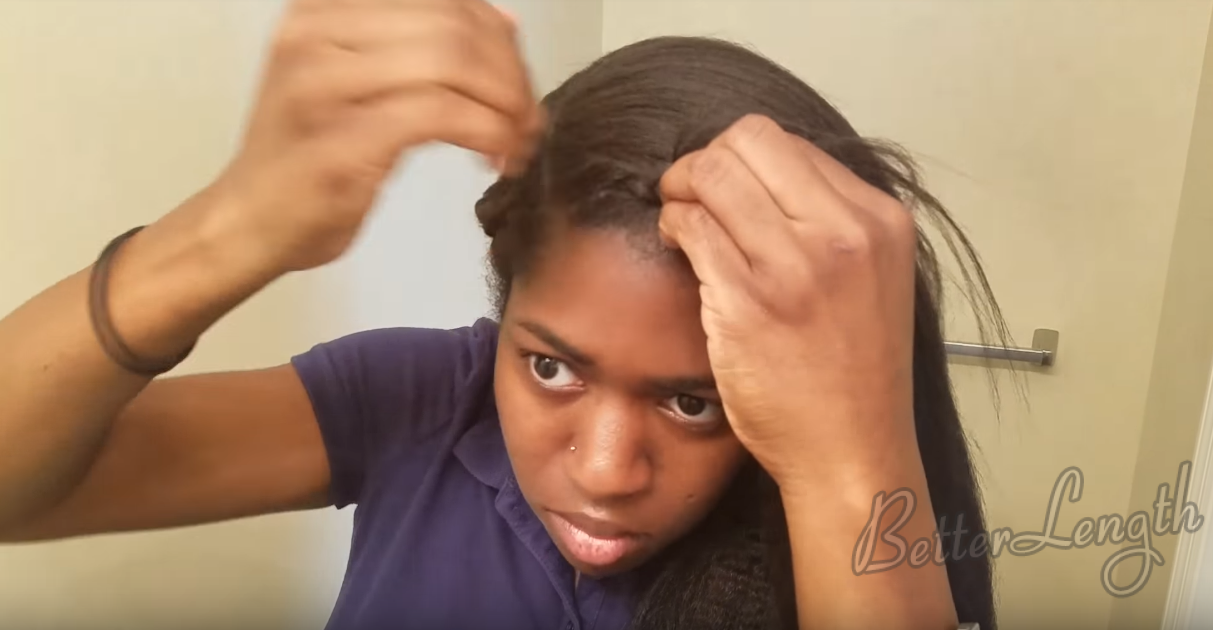 4 14 - How to Do a Braided Protective Hairstyle using Clip in Hair Extensions