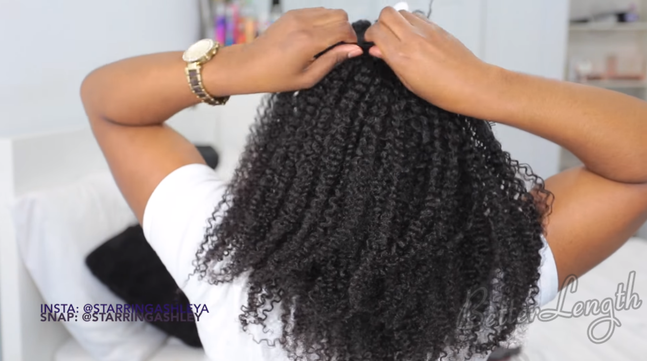 How to Do A Half up Space Buns on Natural Hair with Clip-ins_6
