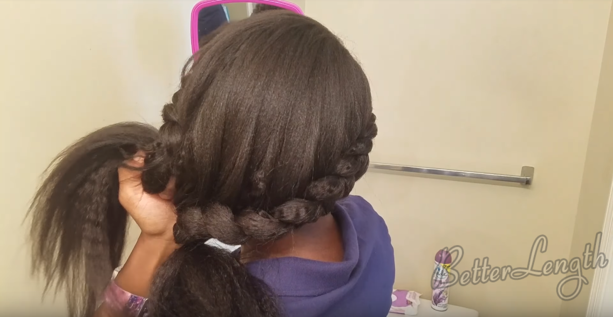 7 14 - How to Do a Braided Protective Hairstyle using Clip in Hair Extensions