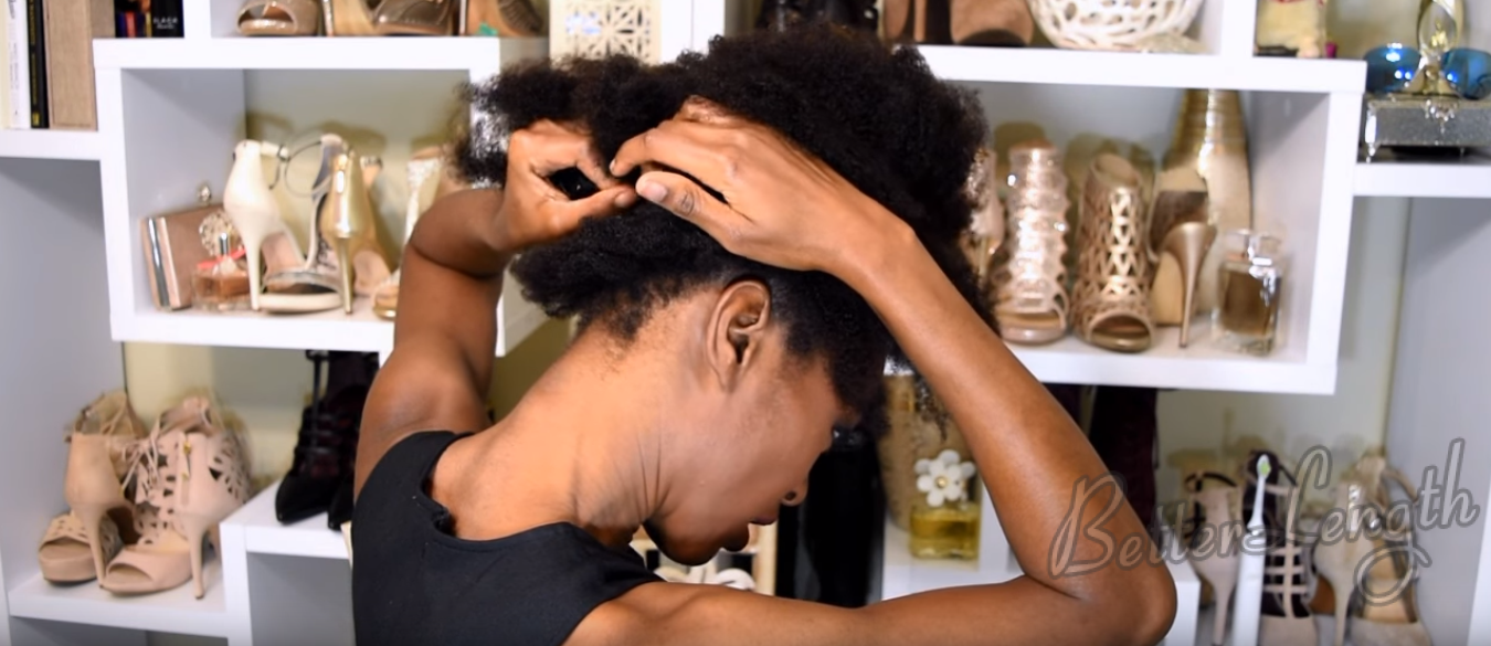 Big Afro Puff With Clip-ins For 4b And 4c Natural Hair_7