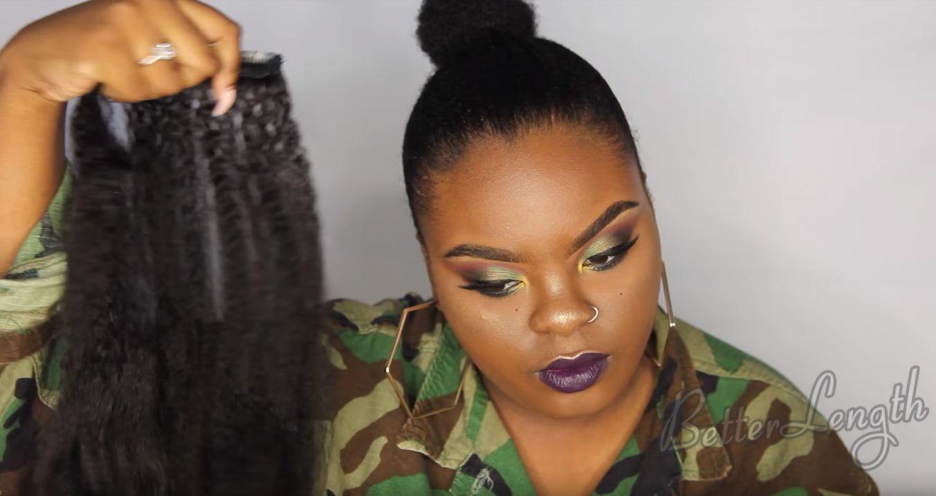 How to Do A Rihanna Inspired Loose High Ponytail on Short 4C Natural Hair with Clip-ins_7