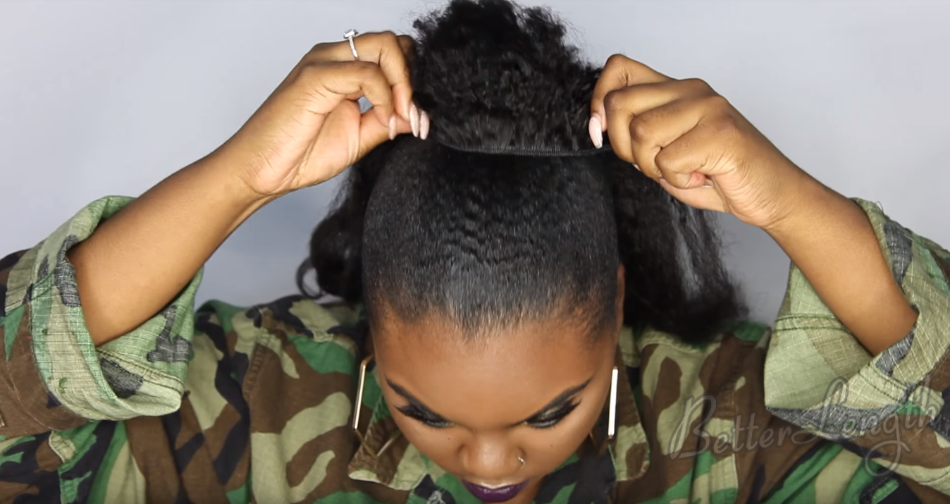 How to Do A Rihanna Inspired Loose High Ponytail on Short 4C Natural Hair with Clip-ins_8