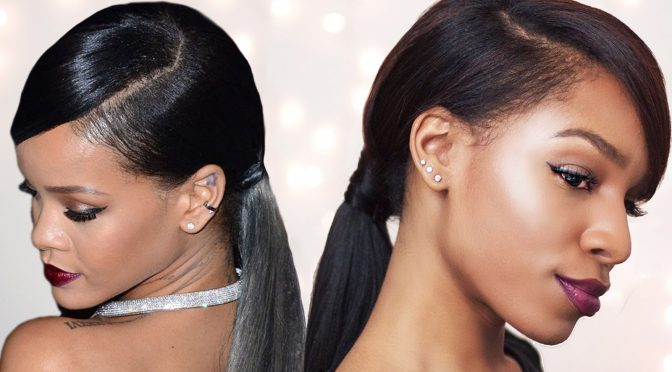 How to Do A Rihanna Inspired Swoop Ponytail for Short Hair with Clip-Ins