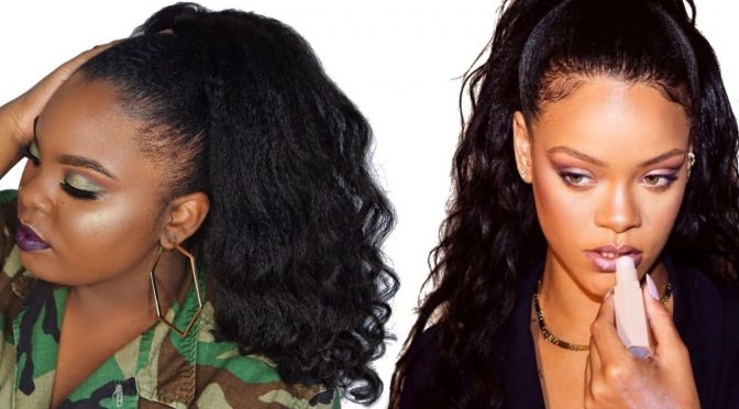 How to Do A Rihanna Inspired Loose High Ponytail on Short 4C Natural Hair with Clip-ins