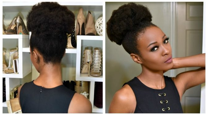 Big Afro Puff With Clip-ins For 4b And 4c Natural Hair | Tutorial