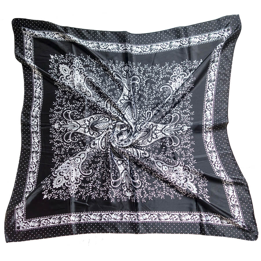 Classic Black and White Large Silk Headscarf