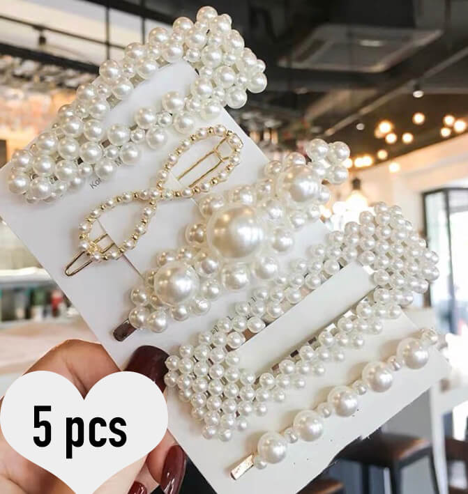 Elegant Pearls Hair Clips Set