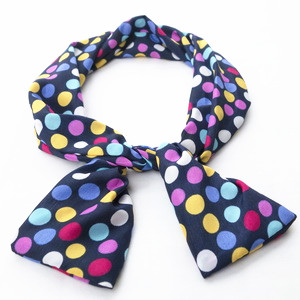 Navy Blue Headband with Colorful polka dots print
