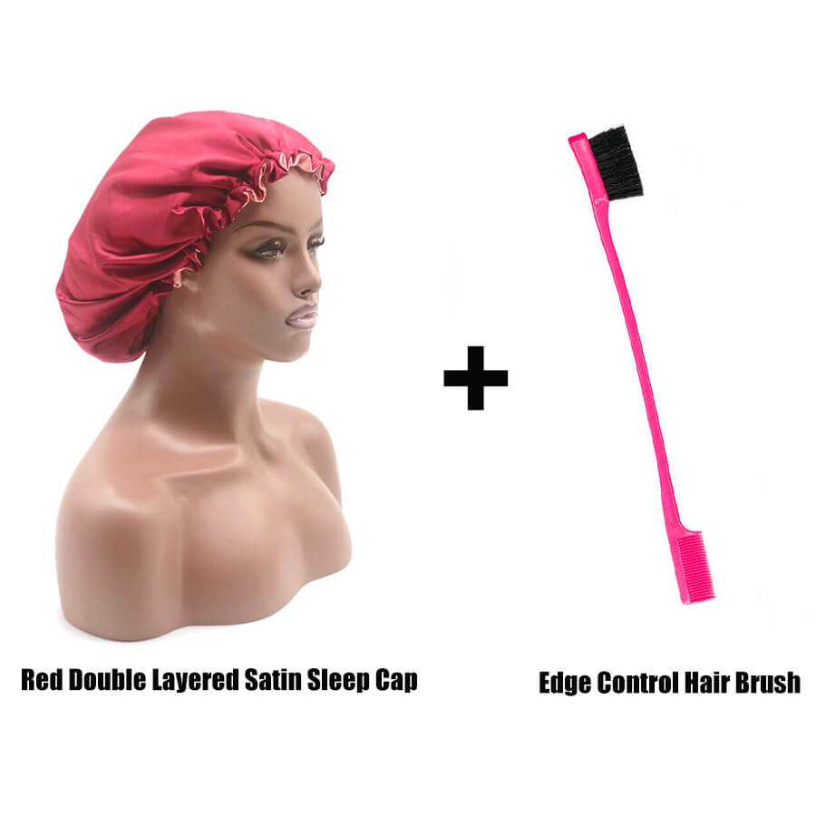 Large Double Layered Satin Sleep Cap and Edge Control Brush