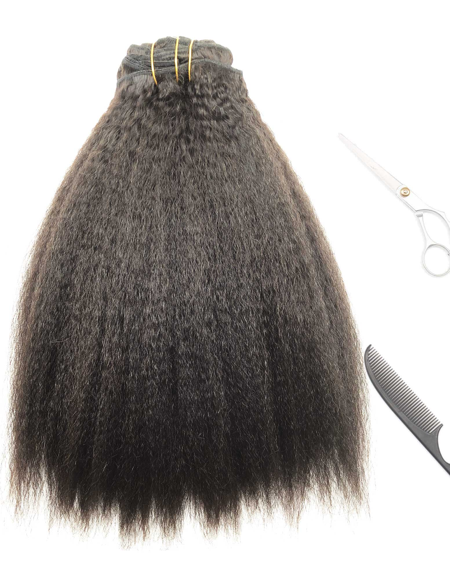 Kinky Coarse Clip In Hair Extensions Natural Hair Blow Out
