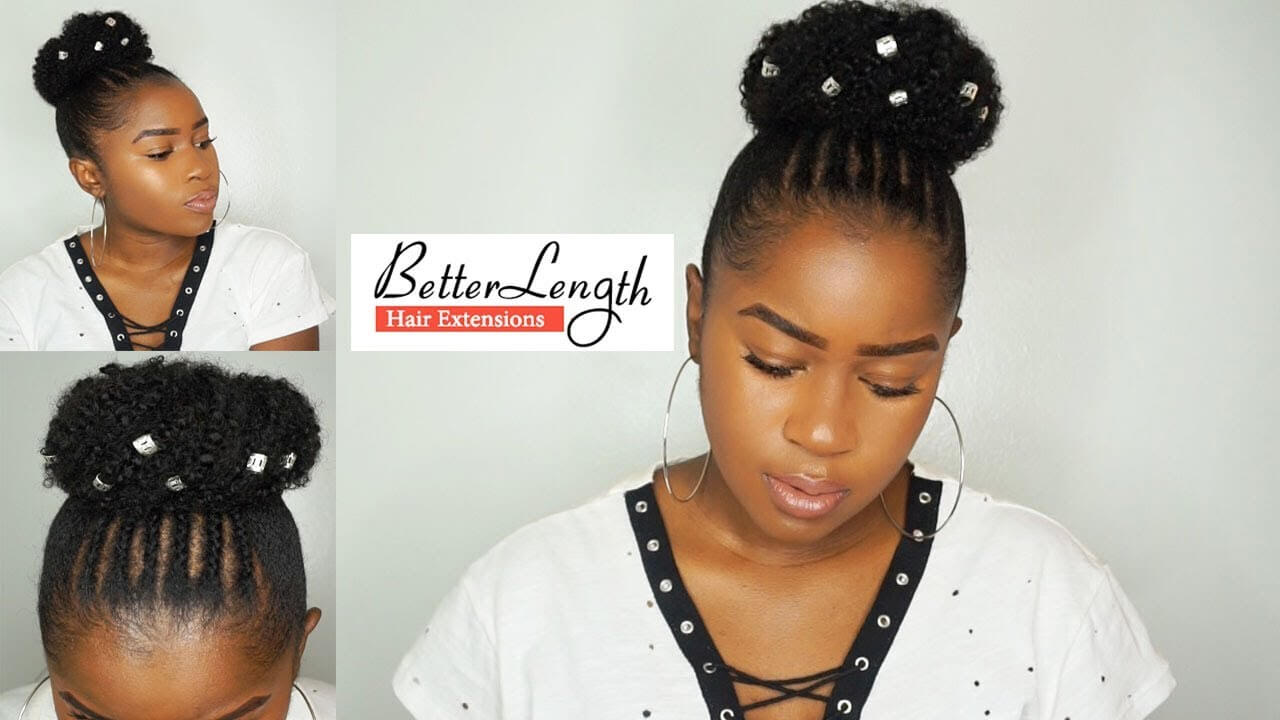 Beginner Friendly Braid and Bun Using Clip-ins on SHORT Natural Hair!!! BetterLength