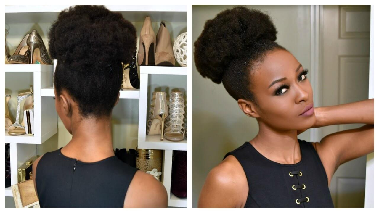 Big Afro Puff With Clip-ins For 4b And 4c Natural Hair