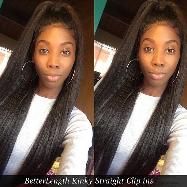 Kinky Straight Clip In Hair Extensions Transitioning Hair